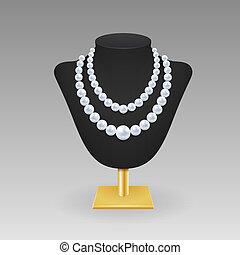 Pearl necklace on a rack - Realistic pearl necklace on a...