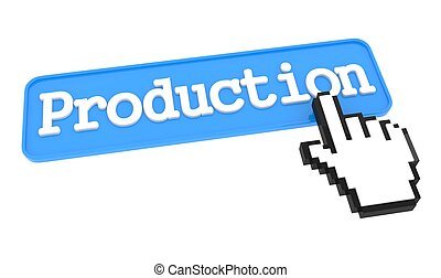 Production Button with Hand Cursor. Business Concept.