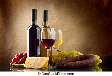 Wine, grapes, cheese and sausage on linen background - Wine...