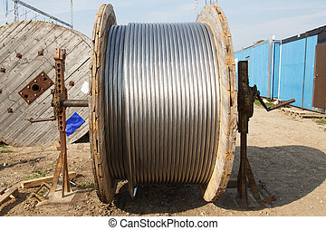 electrical wire - large wooden bobbin with electrical wire