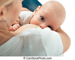 Baby feeds on MOMs breasts