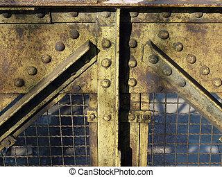 Steel - Construction detail of a steel bridge truss