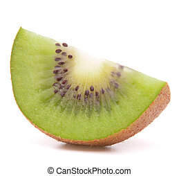 Sliced kiwi fruit segment isolated on white background...