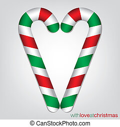 Candy cane Christmas card in vector format