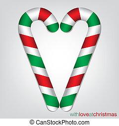 キャンデー, 杖, クリスマス, カード,...