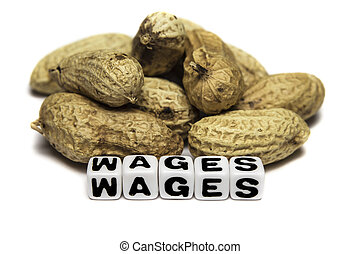 Peanuts and wages - Poor wages in terms of peanuts.