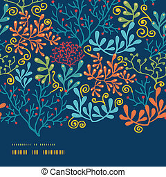 Dark plants horizontal border seamless pattern background -...