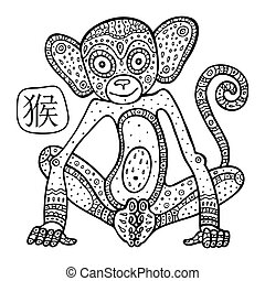Chinese Zodiac. Animal astrological sign. monkey. - Chinese...