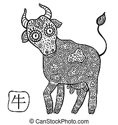 Chinese Zodiac. Animal astrological sign. Cow. - Chinese...