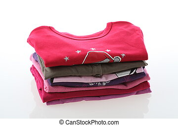 Girls clothes - Girls colorful t-shirts on isolated white...