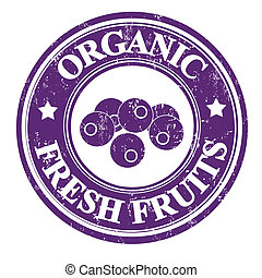 Blueberry stamp - Blueberry organic fruit grunge rubber...