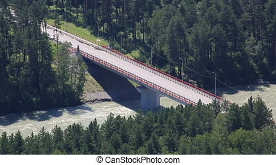 New bridge Aysky over the river Katun Altai Krai Russia