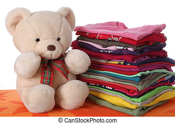 Ironed children's clothes - Colorful children's clothes with...