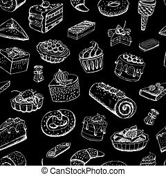 Sweet pastries on chalkboard vector illustration background