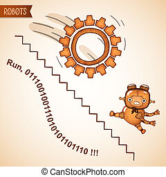 Abstract business run concept with funny robot vector...