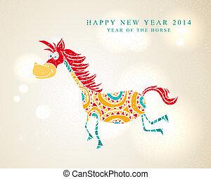 Funny cartoon horse Chinese New Year 2014