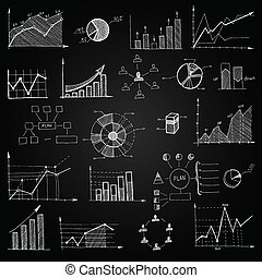 Chalk board doodle web charts isolated vector illustration