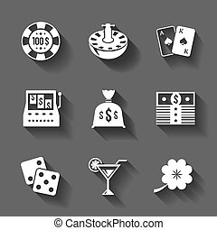 Gambling icons set isolated, contrast shadows vector...
