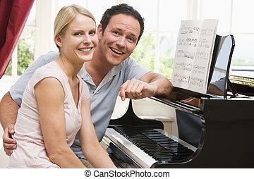 夫婦, 坐, 鋼琴, 微笑