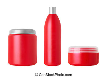 Set of cosmetical bottles isolated on white background