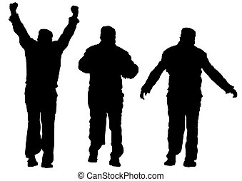 Man of sport exercises - Silhouette elderly man of sport...