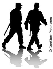 Two police man - Vector drawing of special police force