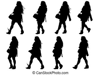 Young women - Vector illustration of a large crowd of young...
