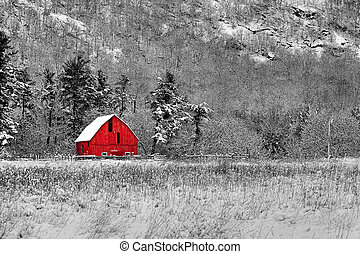 Red Barn 48 - Winter barn scene at Gatineau Park black white...
