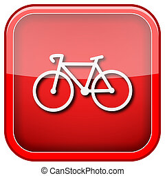 Bicycle icon - Square shiny icon with white design on green...