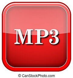 MP3 icon - Square shiny icon with white design on green...