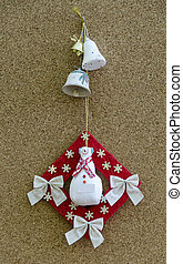 Handmade New Year talisman obereg with snowman and bells -...