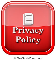 Privacy policy icon - Square shiny icon with white design on...