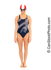 Athlete, female swimmer - Young attractive female athlete,...