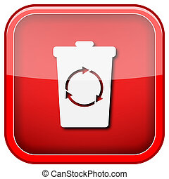 Recycle bin icon - Square shiny icon with white design on...