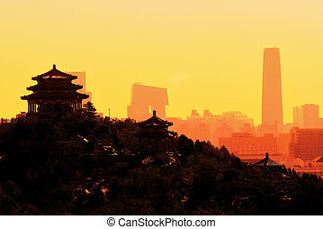Beijing city sunrise with buildings in the morning