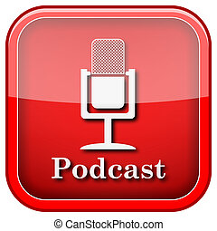 Podcast icon - Square shiny icon with white design on green...