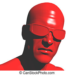 angry red man - 3d illustration