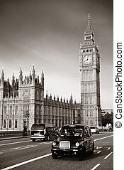 Taxi and Big Ben - Vintage taxi on Westminster Bridge with...
