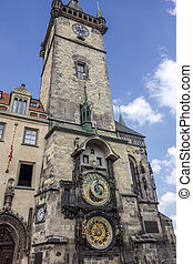 Clock tower of Prague - Clock tower in old town square of...