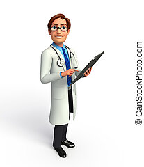 Young Doctor with notepad - 3d rendered illustration of...