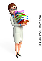 Young Doctor with books pile - 3d rendered illustration of...