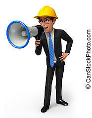 Business man with loud speaker - 3d rendered illustration of...