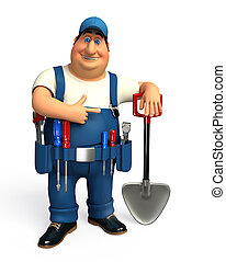 Mechanic with spade - 3d rendered illustration of Mechanic...