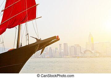 Junk boat sunset in Hong Kong