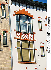 Colorfully decorated house facade in Dordrecht. Netherlands