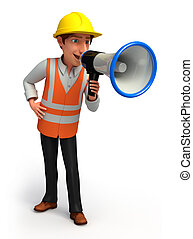 Worker with loud speaker