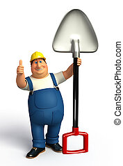 Plumber with spade - 3d rendered illustration of Plumber...
