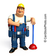 Plumber with toilet plunger - 3d rendered illustration of...