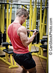 Young man in gym working out, exercising biceps on equipment...