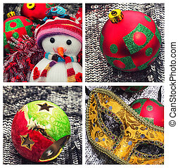 holiday collage with Christmas trinkets and jewelry